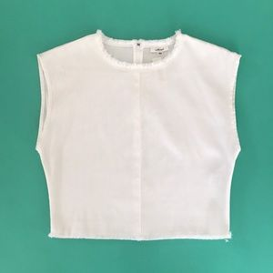 Wilfred white crop top with stylish rough trim